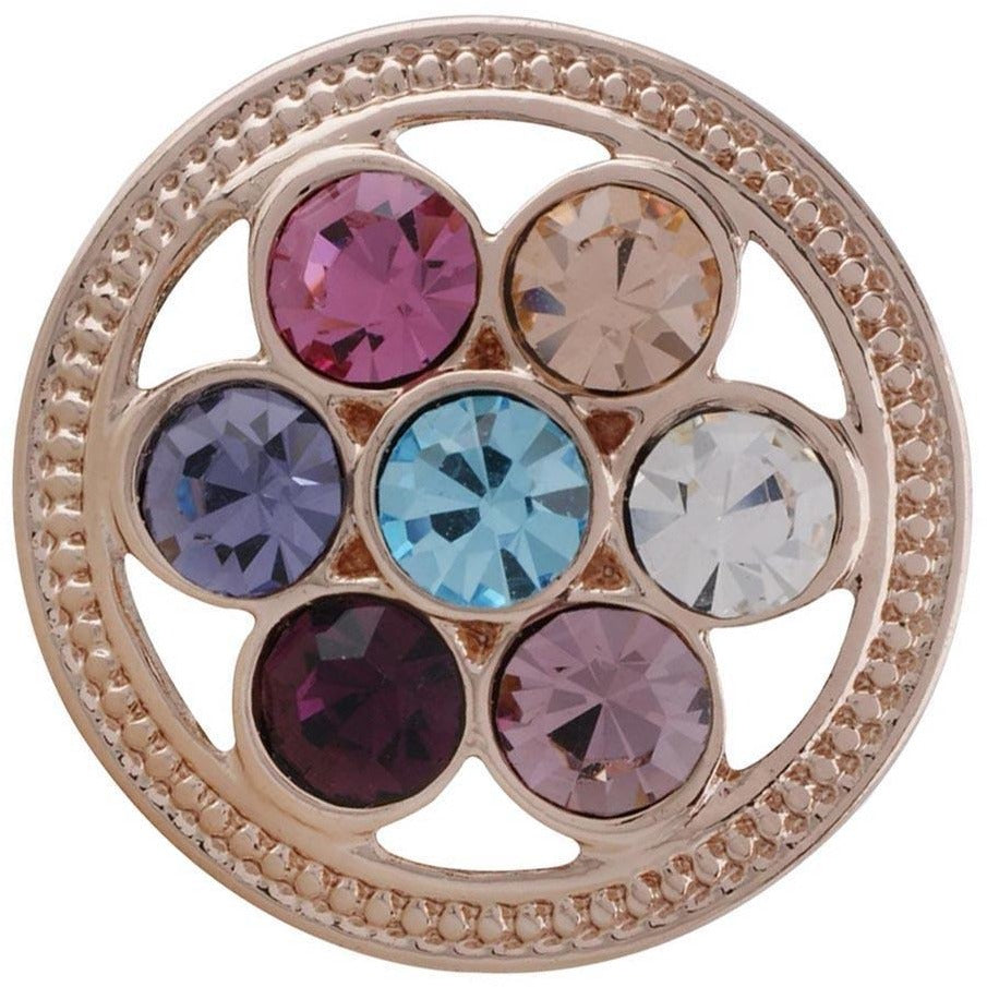 "Snap Charm Rose Gold Multicolor Stones Open Wheel 20mm Standard 3/4"" Diameter Fits Ginger Snaps - Beads and Dangles"