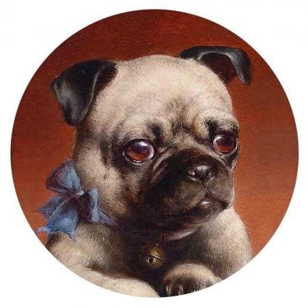 Dog Painted Enamel Pug 20mm - Beads and Dangles