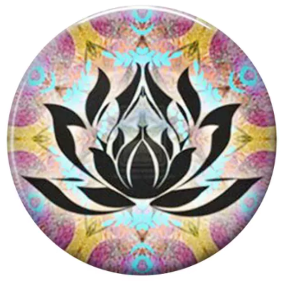 "Painted Enamel Lotus Flower 20mm 3/4"" Diameter"