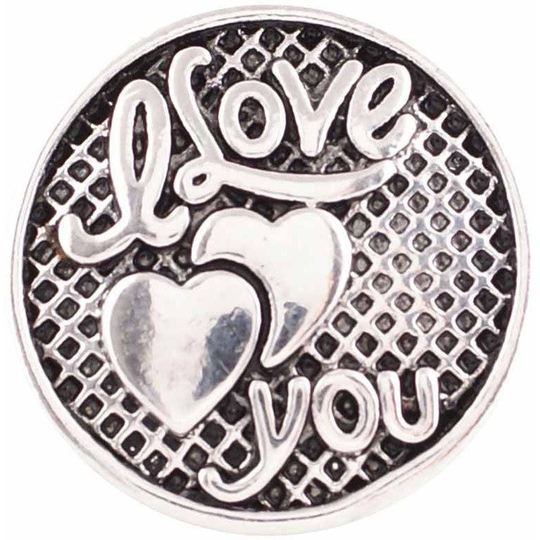 "Snap Charm I Love You 20mm 3/4"" Diameter - Beads and Dangles"