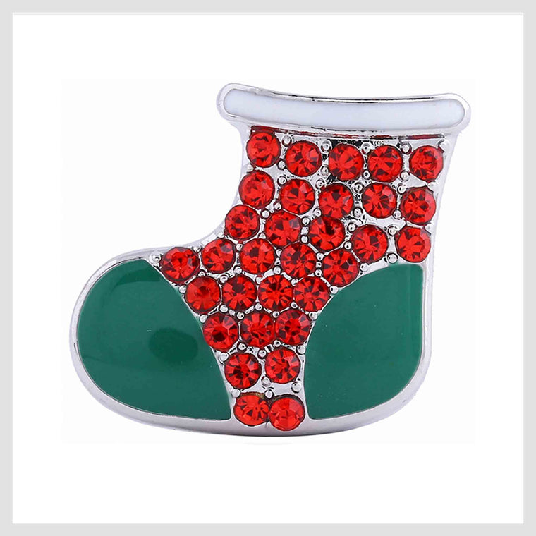 "Christmas Boot Red Green 20mm 3/4"" Diameter - Beads and Dangles"