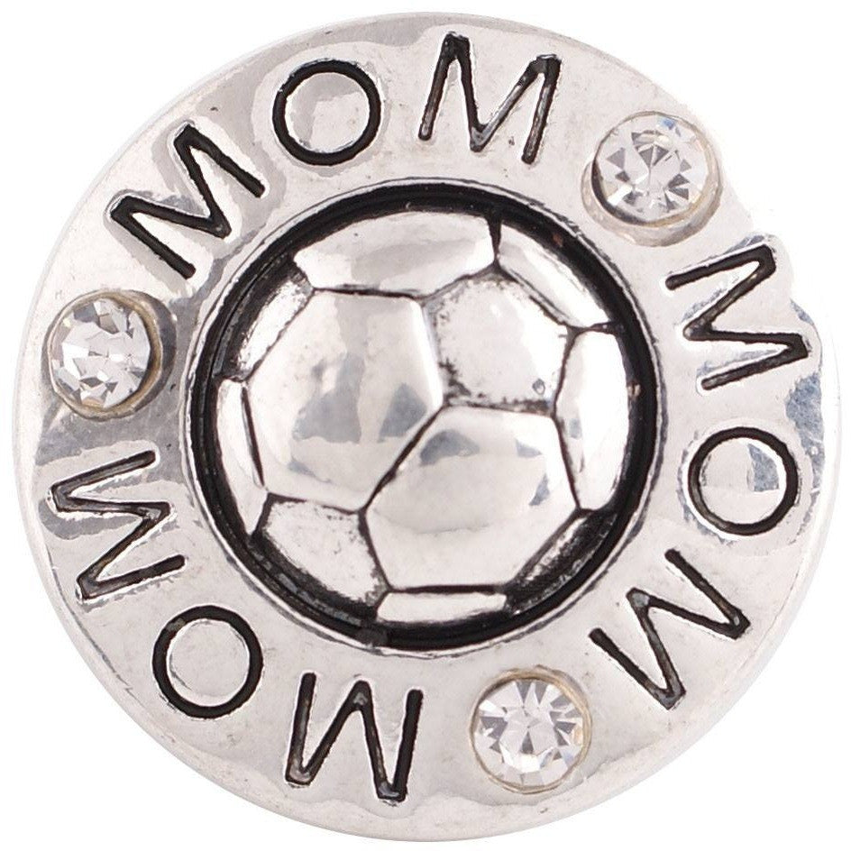 "Chunk Snap Charm Soccer Mom and Soccer Ball 20 mm 3/4"" Diameter - Beads and Dangles"