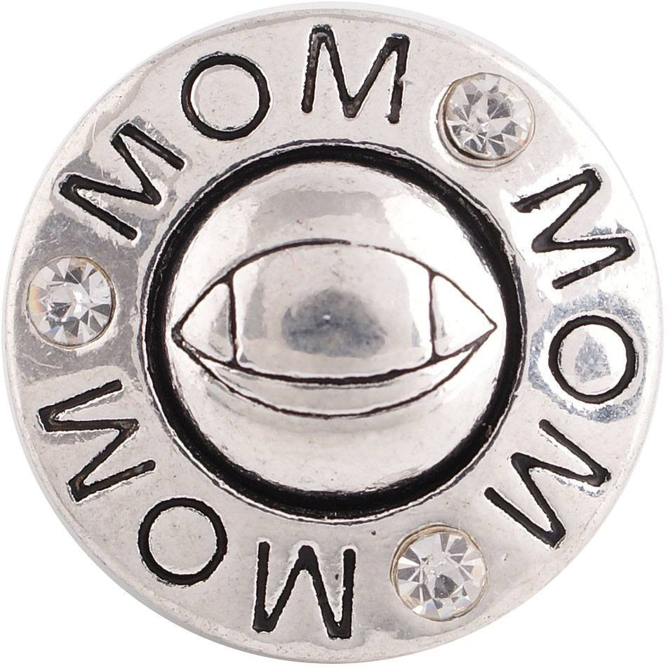 "Chunk Snap Charm Football Mom and Football 20 mm 3/4"" Diameter - Beads and Dangles"