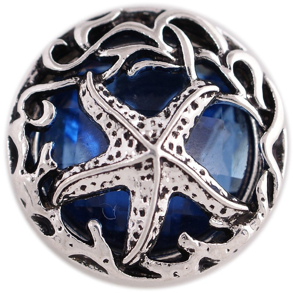 "Chunk Snap Charm Starfish on Blue with Metal Border 20mm 3/4"" Diameter - Beads and Dangles"
