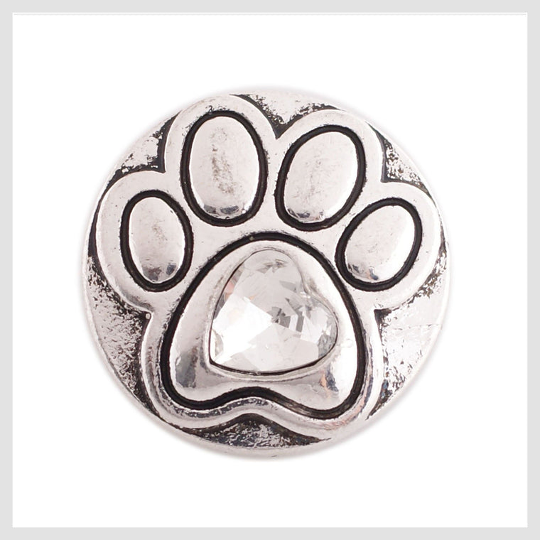 "Animal Paw Print Clear Stone 20mm 3/4"" - Beads and Dangles"