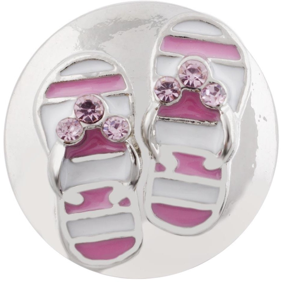 "Chunk Snap Charm Flip Flop Sandals Pink White Stripe Pink Stones 20mm 3/4"" Diameter - Beads and Dangles"