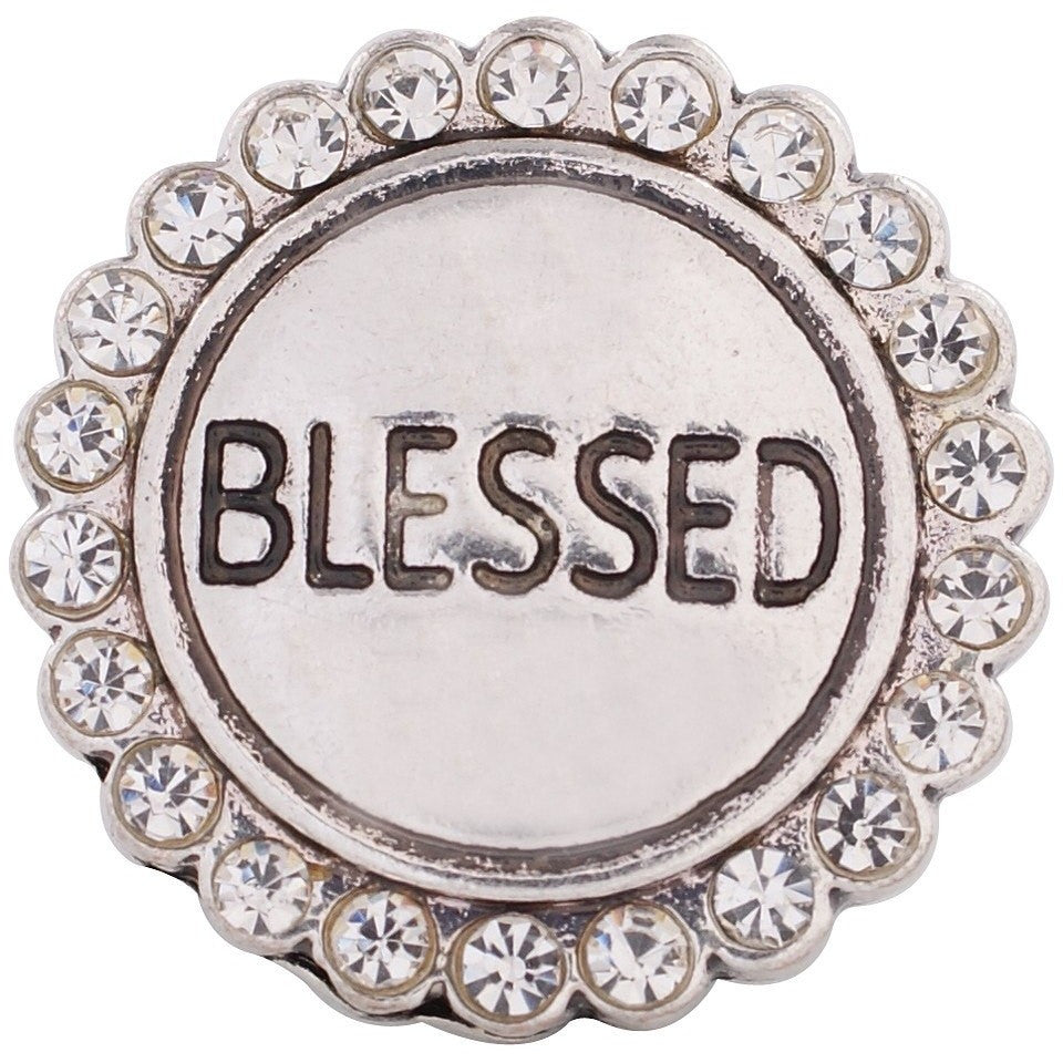 "Chunk Snap Charm Blessed with Clear Crystal border 20mm 3/4"" Diameter - Beads and Dangles"
