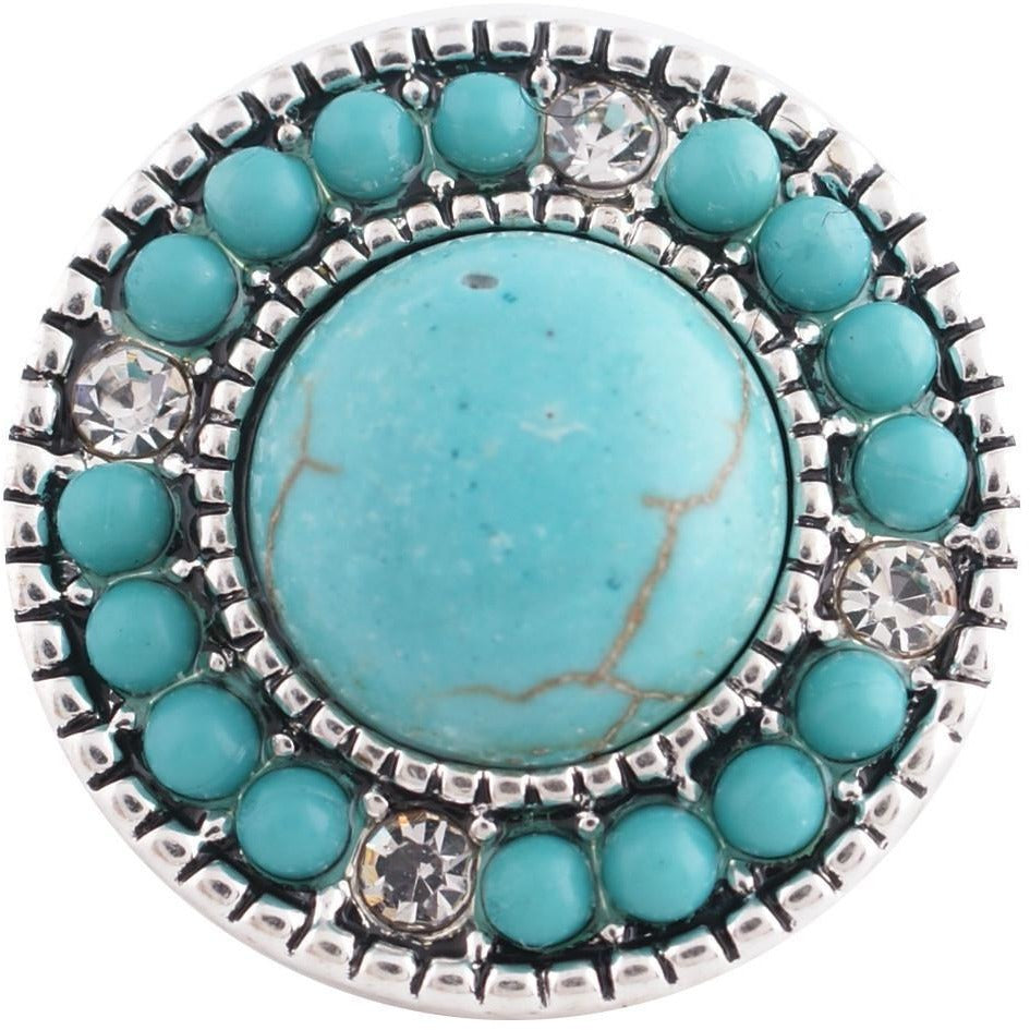 "Chunk Snap Charm Turquoise Stones and Rhinestones 20mm, 3/4"" Diameter - Beads and Dangles"