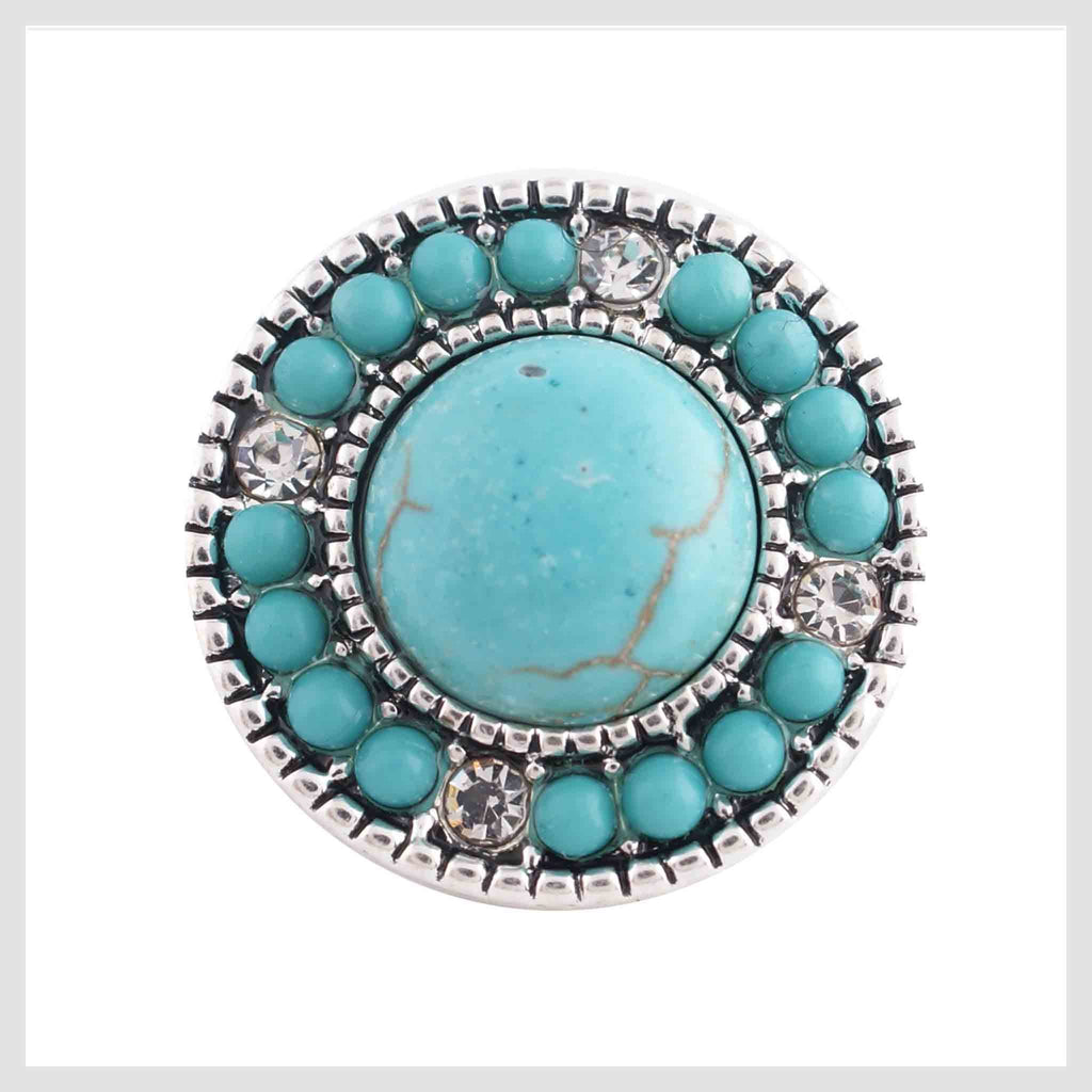 "Snap Charm Turquoise Stones and Rhinestones 20mm, 3/4"" Diameter"