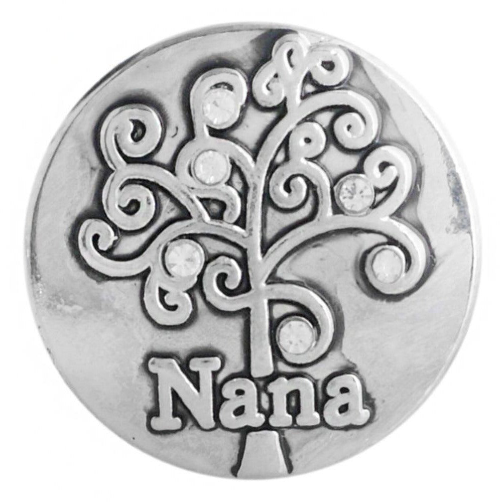 "Snap Charm Nana with Family Tree 20 mm, 3/4"" Diameter Fits Ginger Snaps - Beads and Dangles"
