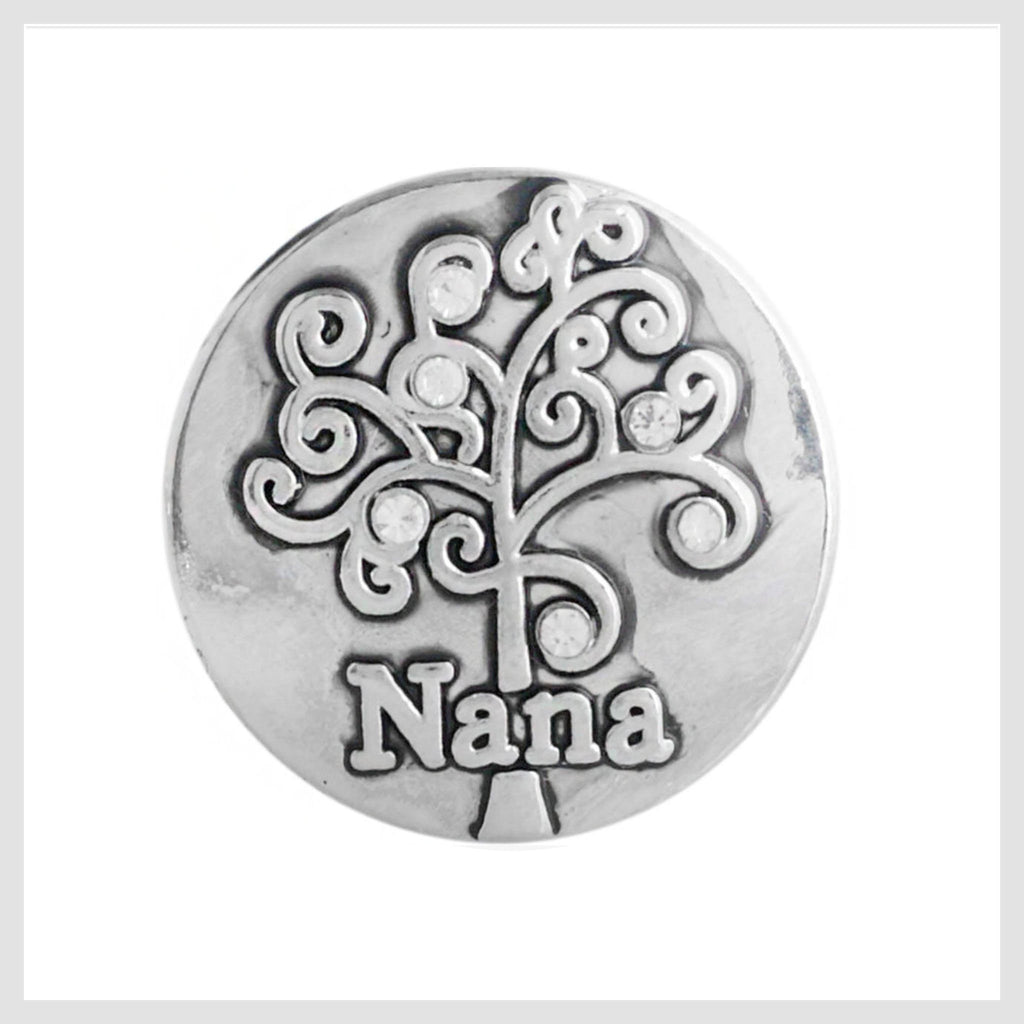 "Snap Charm Nana with Family Tree 20 mm, 3/4"" Diameter Fits Ginger Snaps"