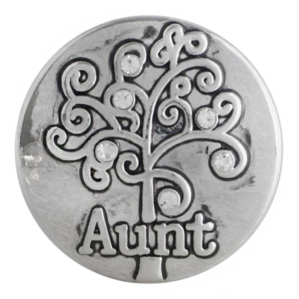 "Chunk Snap Charm Aunt with Family Tree 20 mm, 3/4"" Diameter Fits Ginger Snaps - Beads and Dangles"