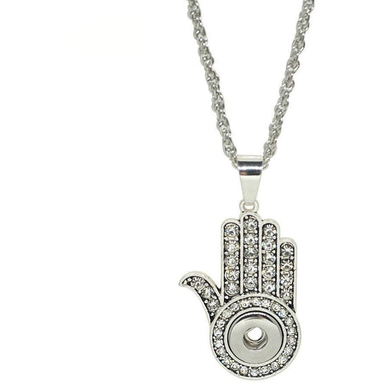 "Chunk Snap Charm Hamsa Hand Bling Pendant for Mini 12mm 1/2"" Snaps Includes Chain - Beads and Dangles"