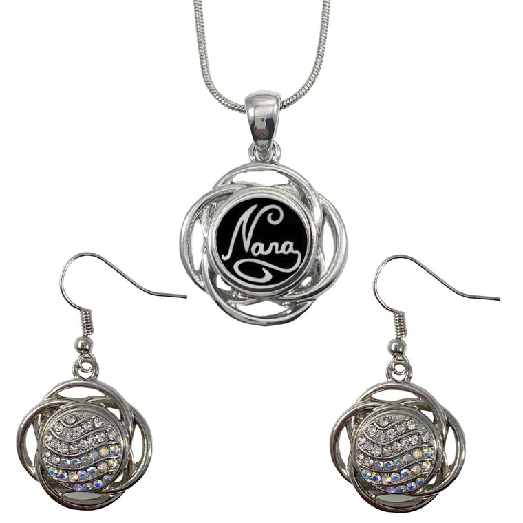 Snap Charm Pendant Necklace and Earrings Set 12mm Mini Clear - Beads and Dangles