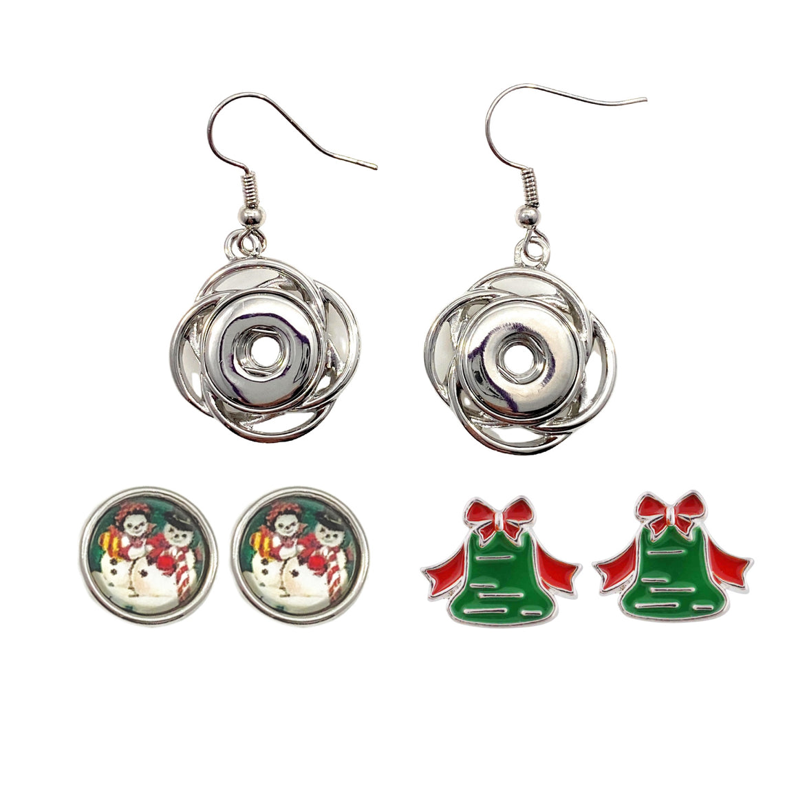 Drop Earrings for Christmas Holiday Mini 12 mm Includes Snaps Shown (SET-SNOW)