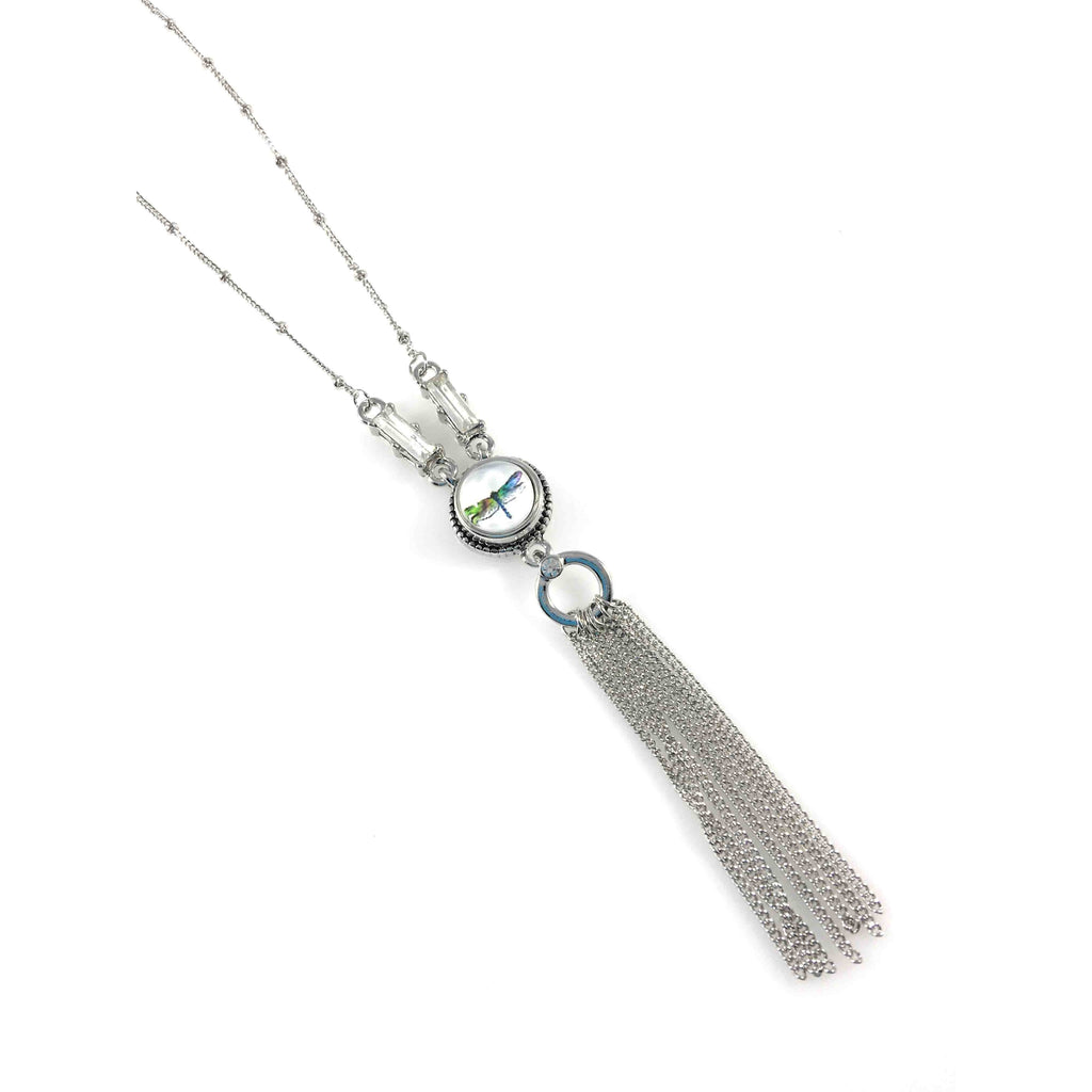 "Snap Charm Necklace Tassel 39"" for Mini Snaps Includes Dragonfly Fits Ginger Snaps - Beads and Dangles"