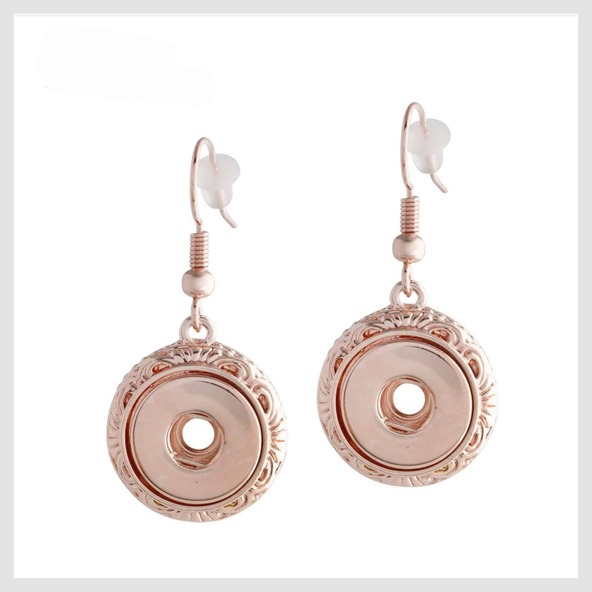 Rose Gold Snap Earrings for 12mm Mini - Beads and Dangles