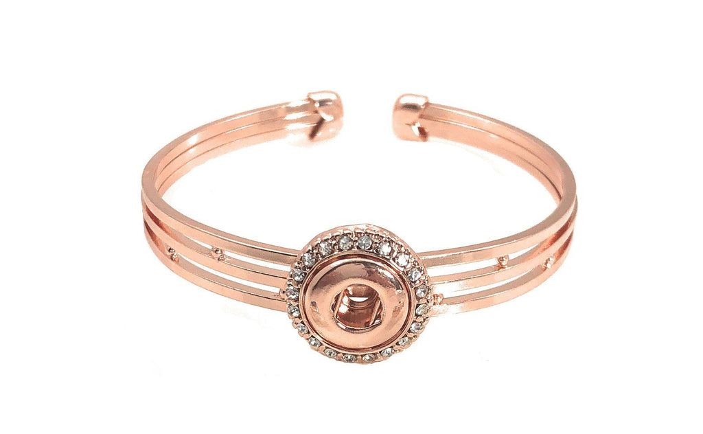 Rose Gold Snap Charm Cuff Bangle Bracelet 2 Snaps 12mm Mini - Beads and Dangles