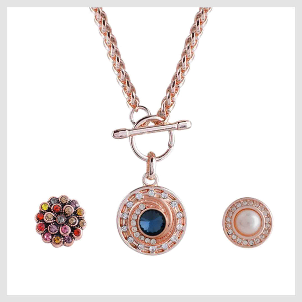 "This set includes a rose gold plated pendant with a toggle clasp and 3 mini snaps that measure 12mm or 1/2"" each."