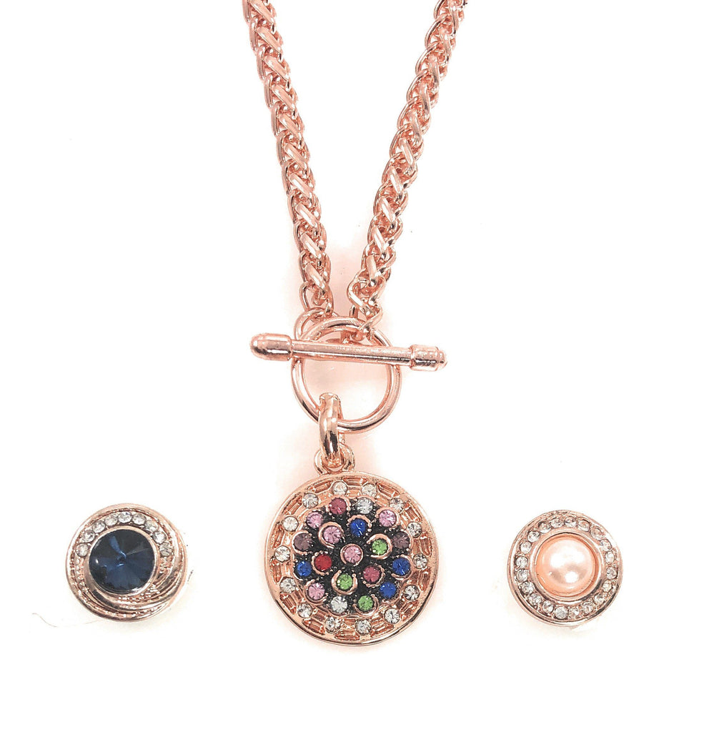 Rose Gold Pendant Includes 3 Snaps 12mm Mini - Beads and Dangles