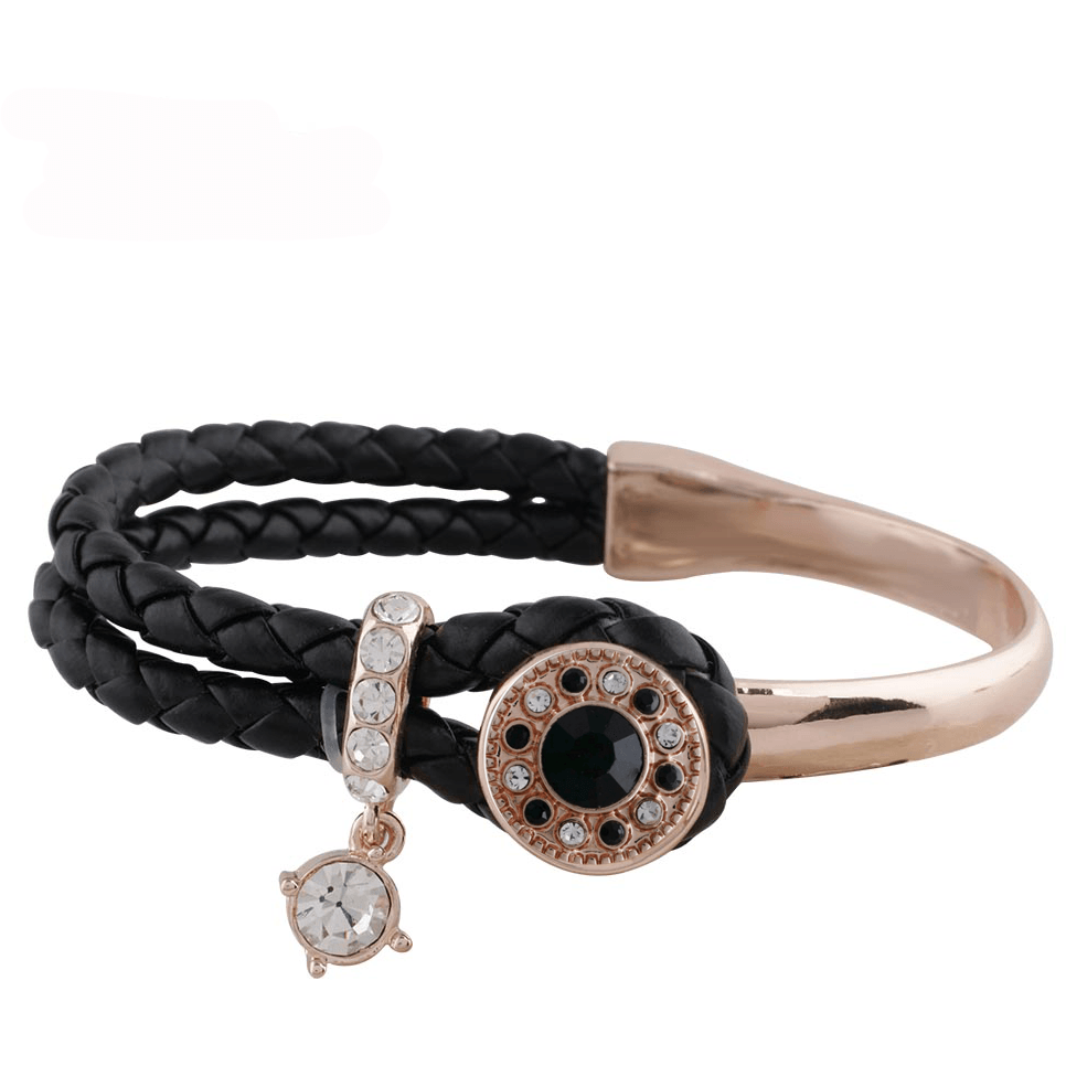 Rose Gold and Black Bracelet 2 Snaps 12mm Mini