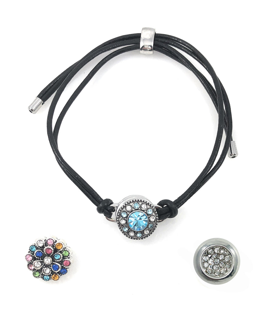 Snap Charm Black Leather Bracelet for One 12mm Mini Button Includes 3 Snaps Shown - Adjustable - Beads and Dangles