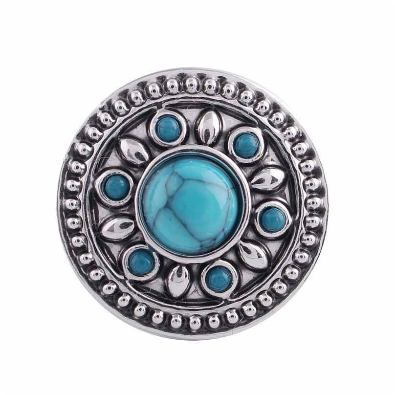 "Chunk Snap Charm Mini Petite 12mm Turquoise Stone Center, 1/2"" Diameter - Beads and Dangles"