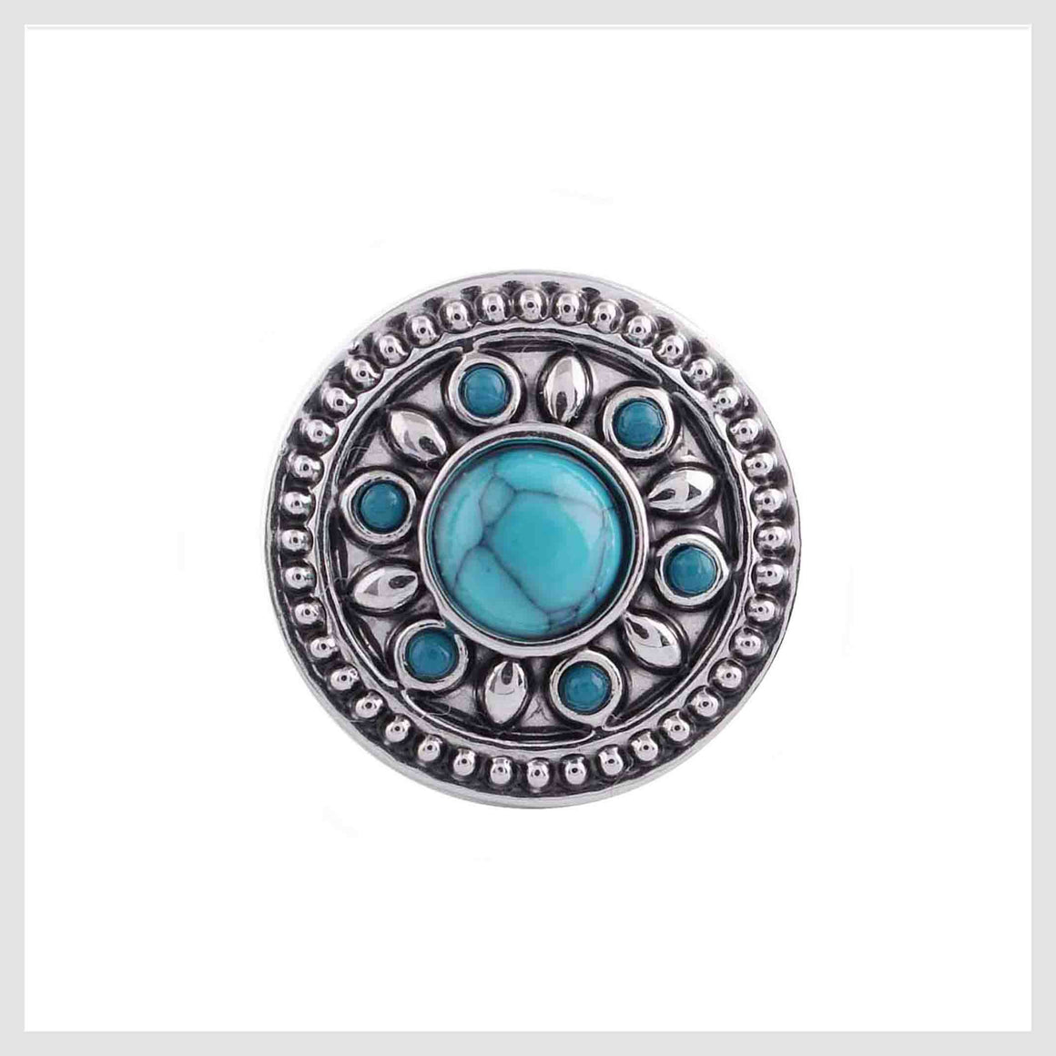 Turquoise Stone Center and Border 12mm Mini - Beads and Dangles