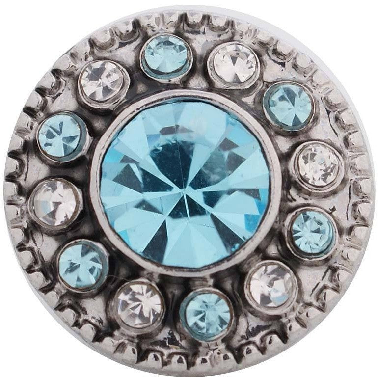 "Chunk Snap Charm Mini Petite 12mm Turquoise Center Stone and Clear Crystal Border, 1/2"" Diameter - Beads and Dangles"
