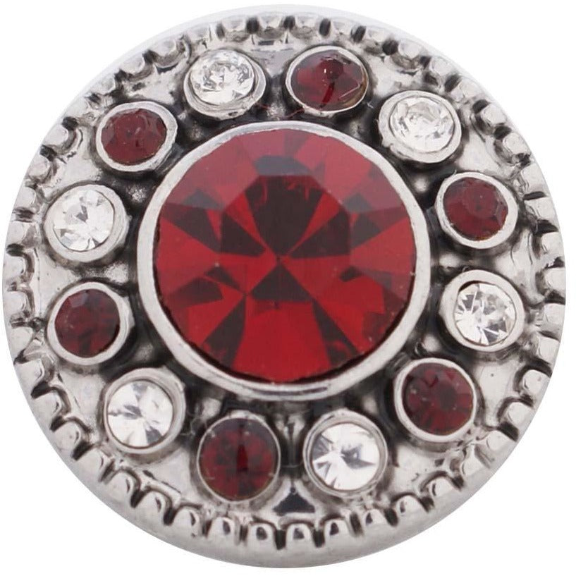 "Chunk Snap Charm Mini Petite 12mm Deep Red Center Stone and Clear Crystal Border, 1/2"" Diameter - Beads and Dangles"