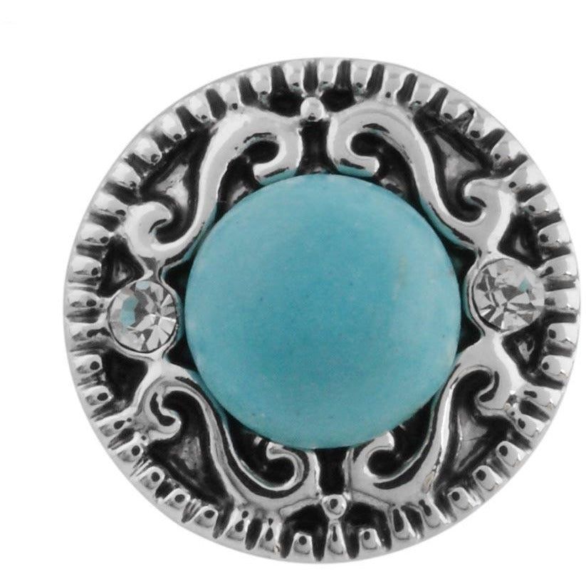 "Chunk Snap Charm Mini Petite 12mm Turquoise Stone Center Scroll Border, 1/2"" Diameter - Beads and Dangles"