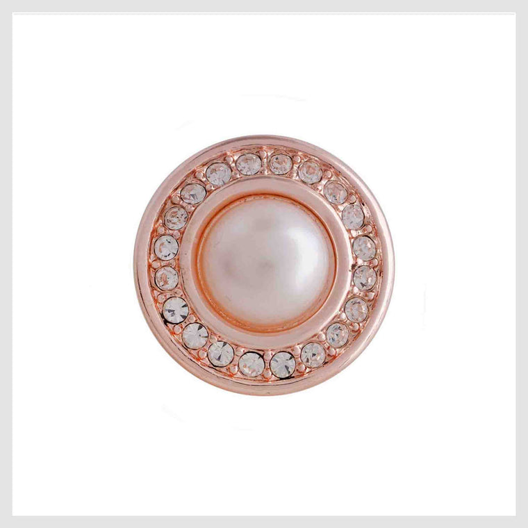 Rose Gold Pearl Clear Crystal Border 12mm Mini