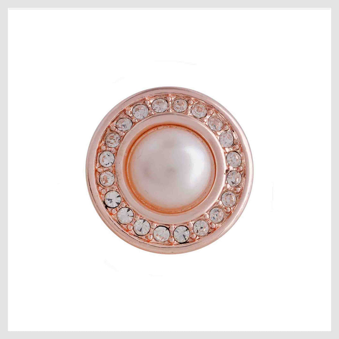 Rose Gold Pearl Clear Crystal Border 12mm Mini - Beads and Dangles