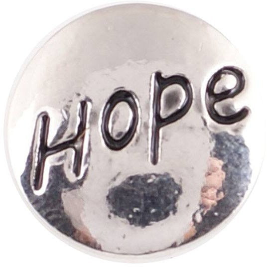 "Chunk Snap Charm Mini Snap HOPE, 12mm 1/2"" Diameter - Beads and Dangles"