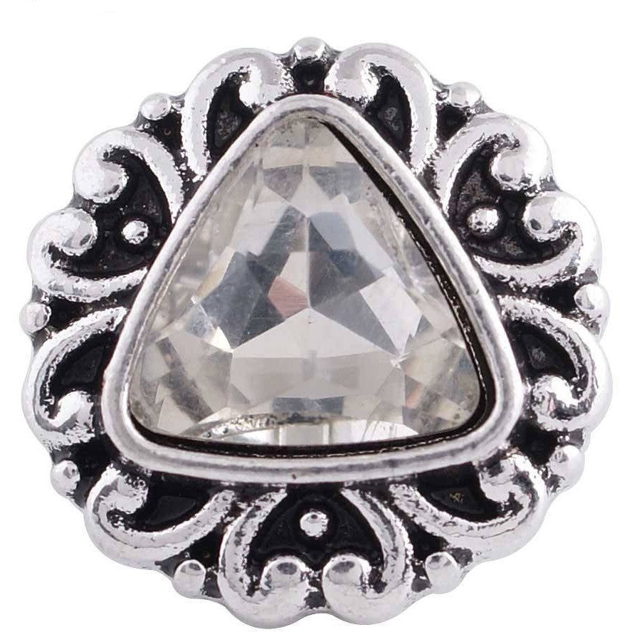 "Chunk Snap Charm 12mm Mini Petite Clear Triangle Center, 1/2"" Diameter - Beads and Dangles"