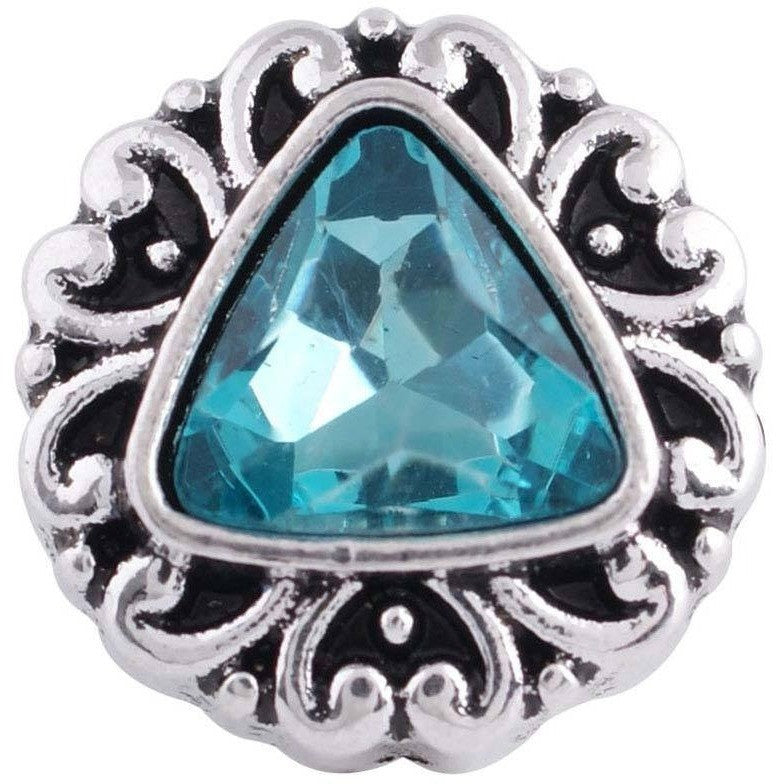 "Snap Charm 12mm Mini Petite Turquoise Triangle Center, 1/2"" Diameter - Beads and Dangles"