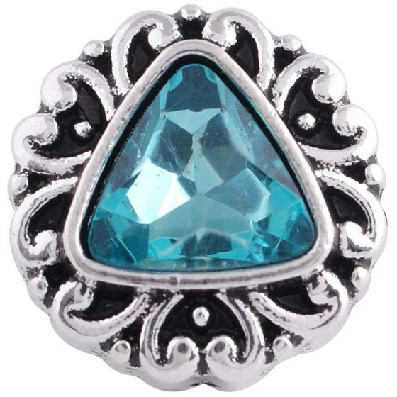 "Chunk Snap Charm 12mm Mini Petite Turquoise Triangle Center, 1/2"" Diameter - Beads and Dangles"