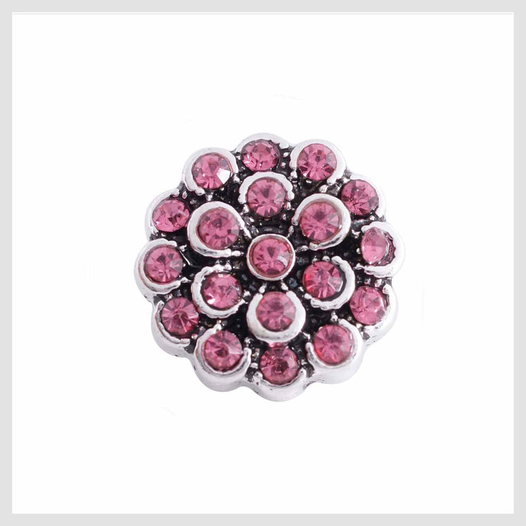 Pink Flower Rhinestones 12mm Mini - Beads and Dangles