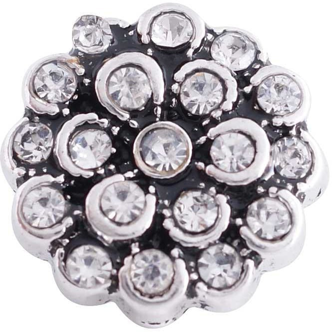 "Chunk Snap Charm 12mm Mini Petite Flower Clear Rhinestones, 1/2"" Diameter - Beads and Dangles"