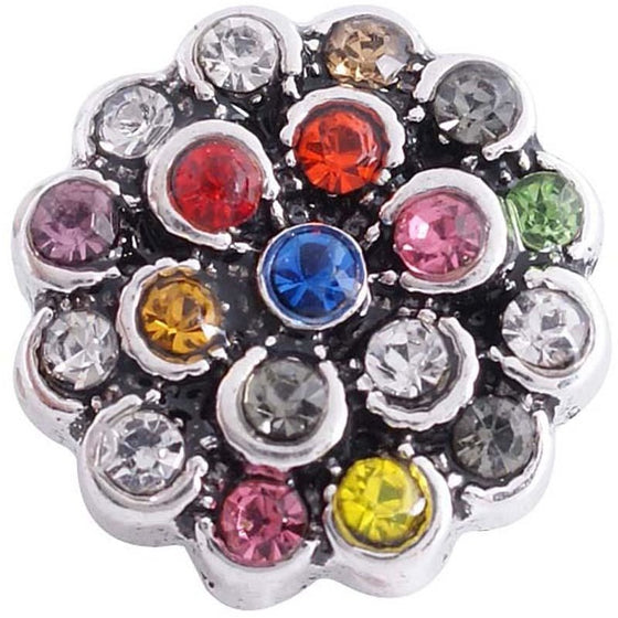 "Chunk Snap Charm 12mm Mini Petite Flower Multicolor Rhinestones, 1/2"" Diameter - Beads and Dangles"