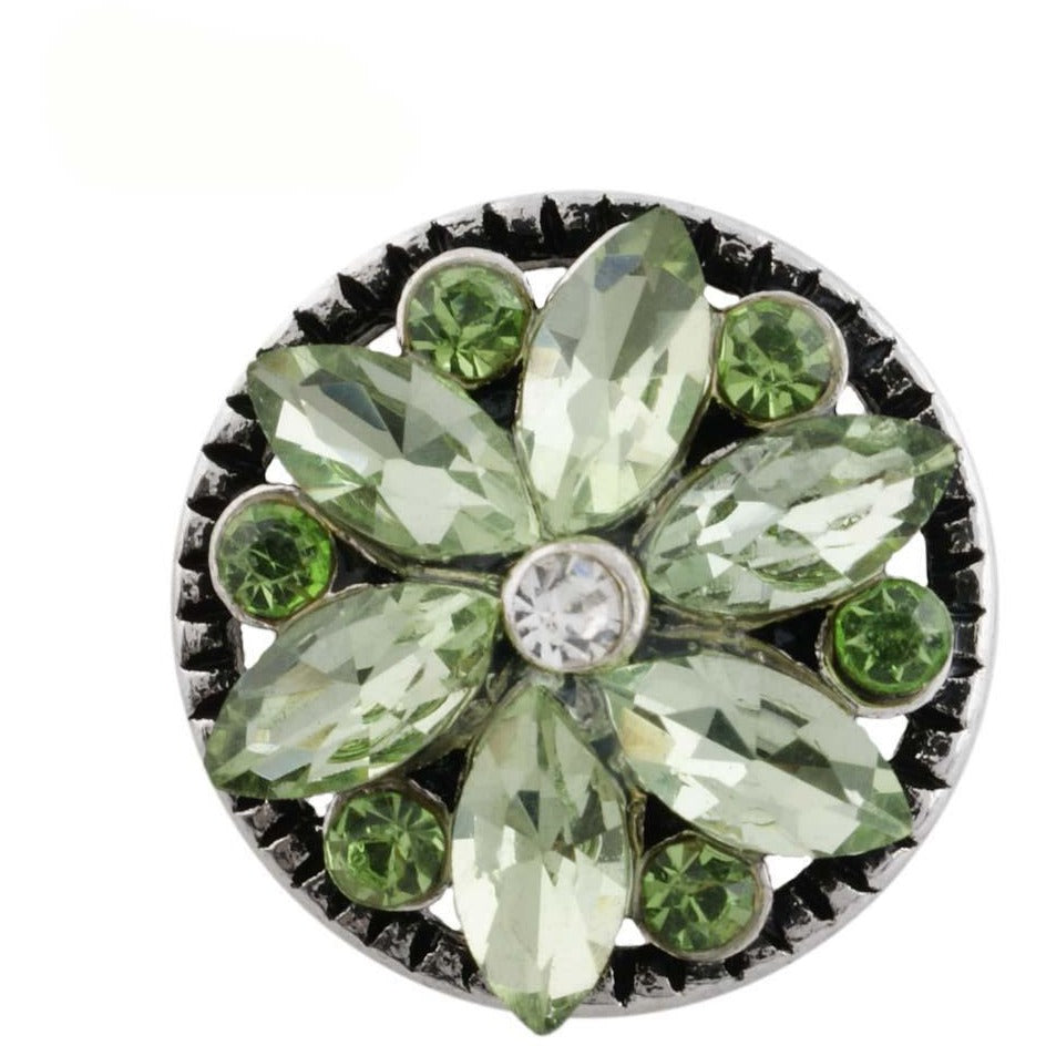 "Snap Charm 12mm Mini Pinwheel Flower Peridot Stones, 1/2"" Diameter Fits Ginger Snaps - Beads and Dangles"