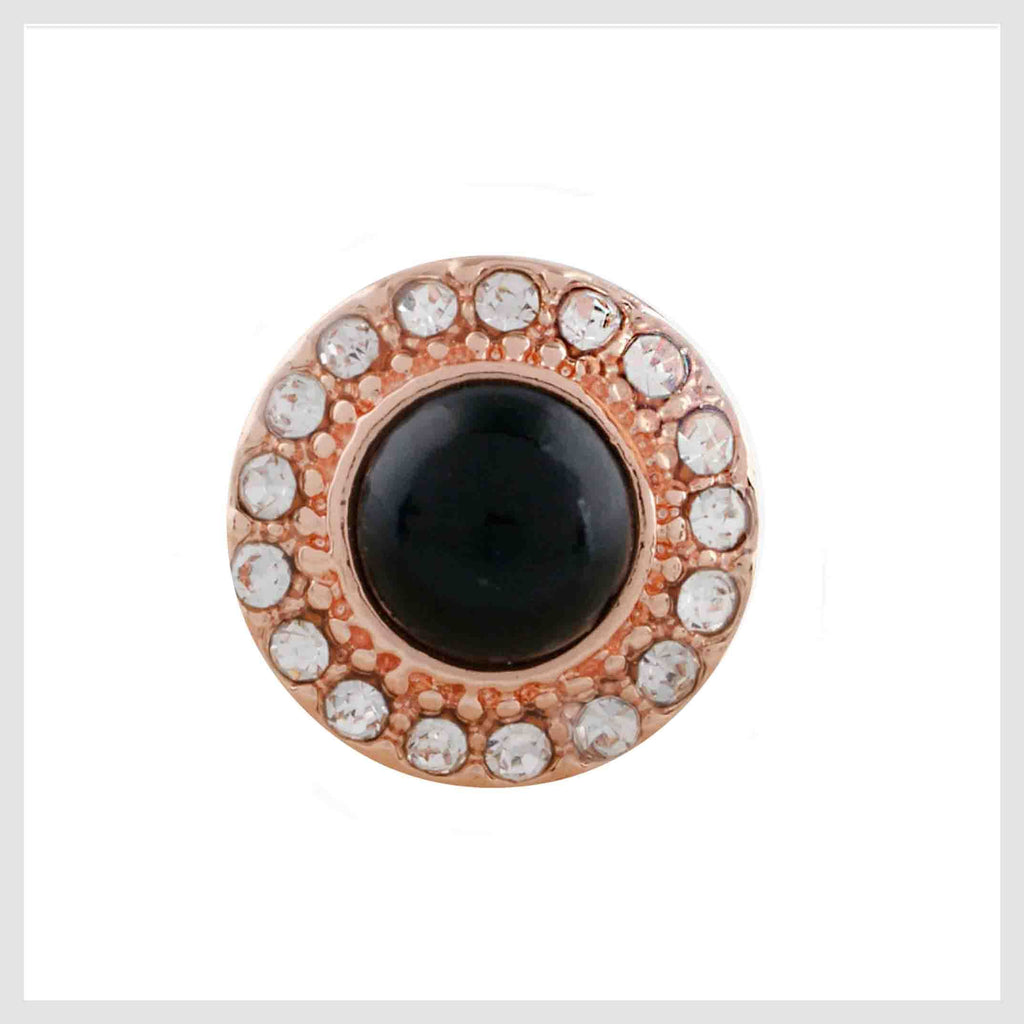 Rose Gold Black Stone and Crystals 12mm Mini
