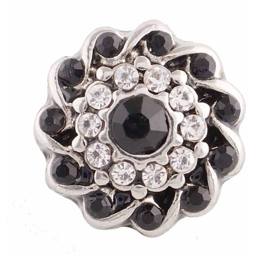 "Chunk Snap Charm Mini Petite 12mm Black Center, Clear and Black Crystal Border, 1/2"" Diameter - Beads and Dangles"