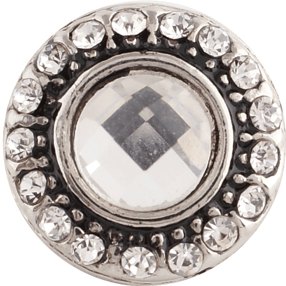 "Chunk Snap Charm Mini 12mm Clear Center Crystal and Border 1/2"" Diameter - Beads and Dangles"