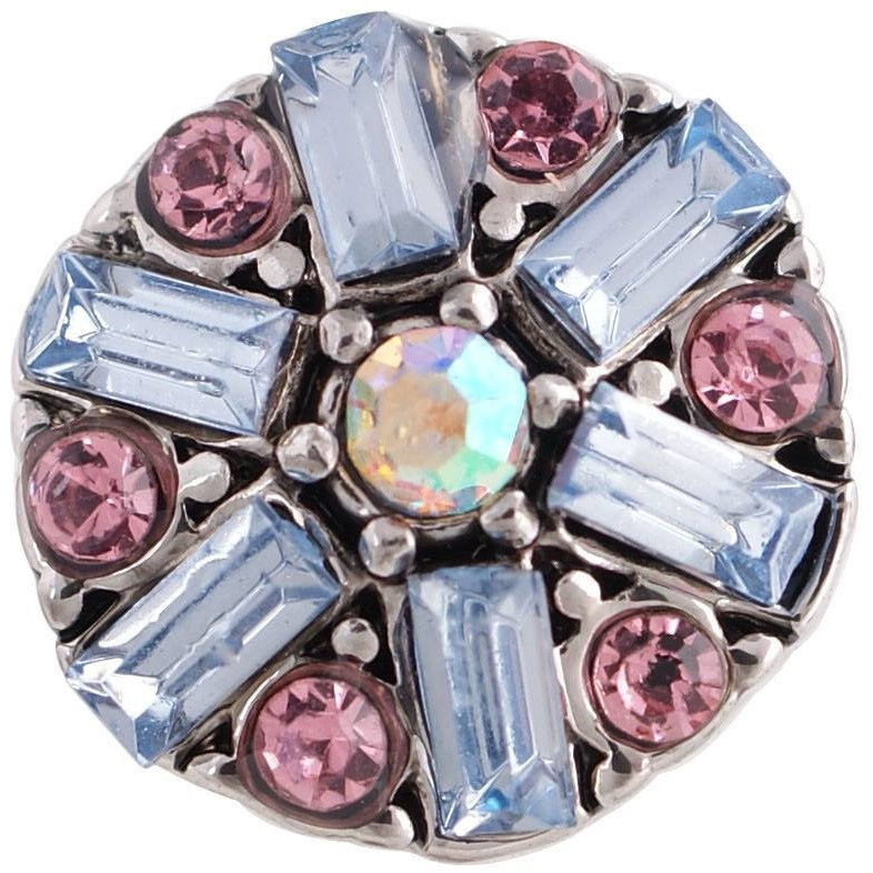 "Chunk Snap Charm 12mm Mini Petite Pink and Blue Rhinestones, 1/2"" Diameter - Beads and Dangles"