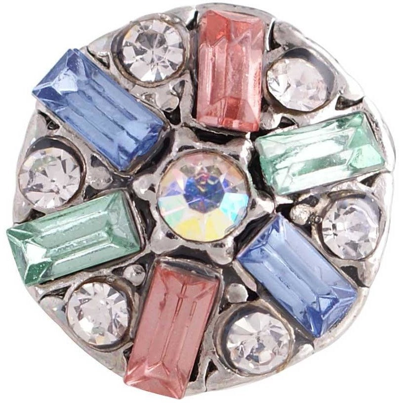 "Snap Charm 12mm Mini Petite Multicolored Rhinestones, 1/2"" Diameter Fits Ginger Snaps - Beads and Dangles"