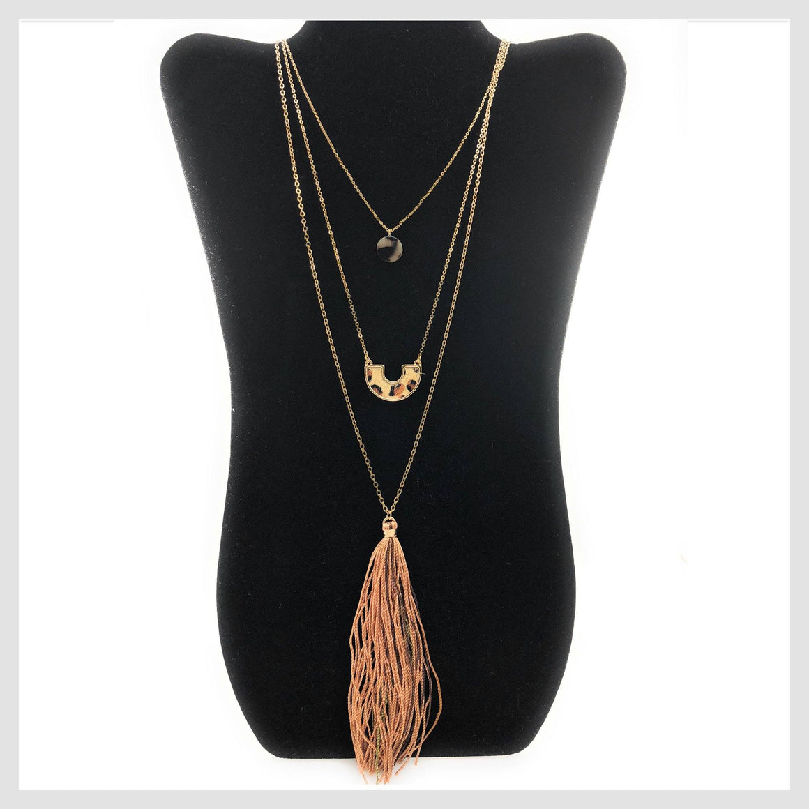 Fashion Statement Cheetah Animal Skin 3 Layer Tassel Necklace - Beads and Dangles