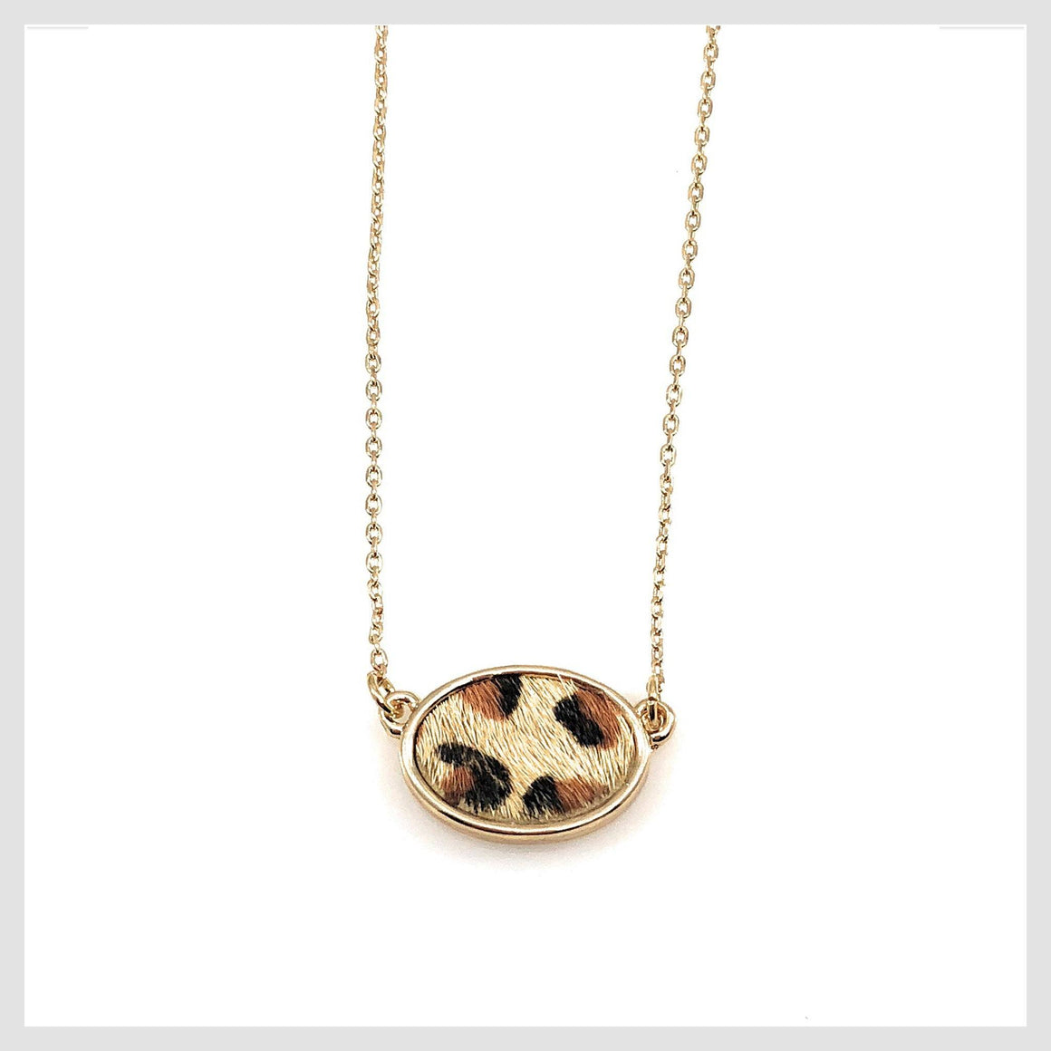 "Fashion Statement Animal Skin Print Cheetah Oval Necklace 16"" - Beads and Dangles"