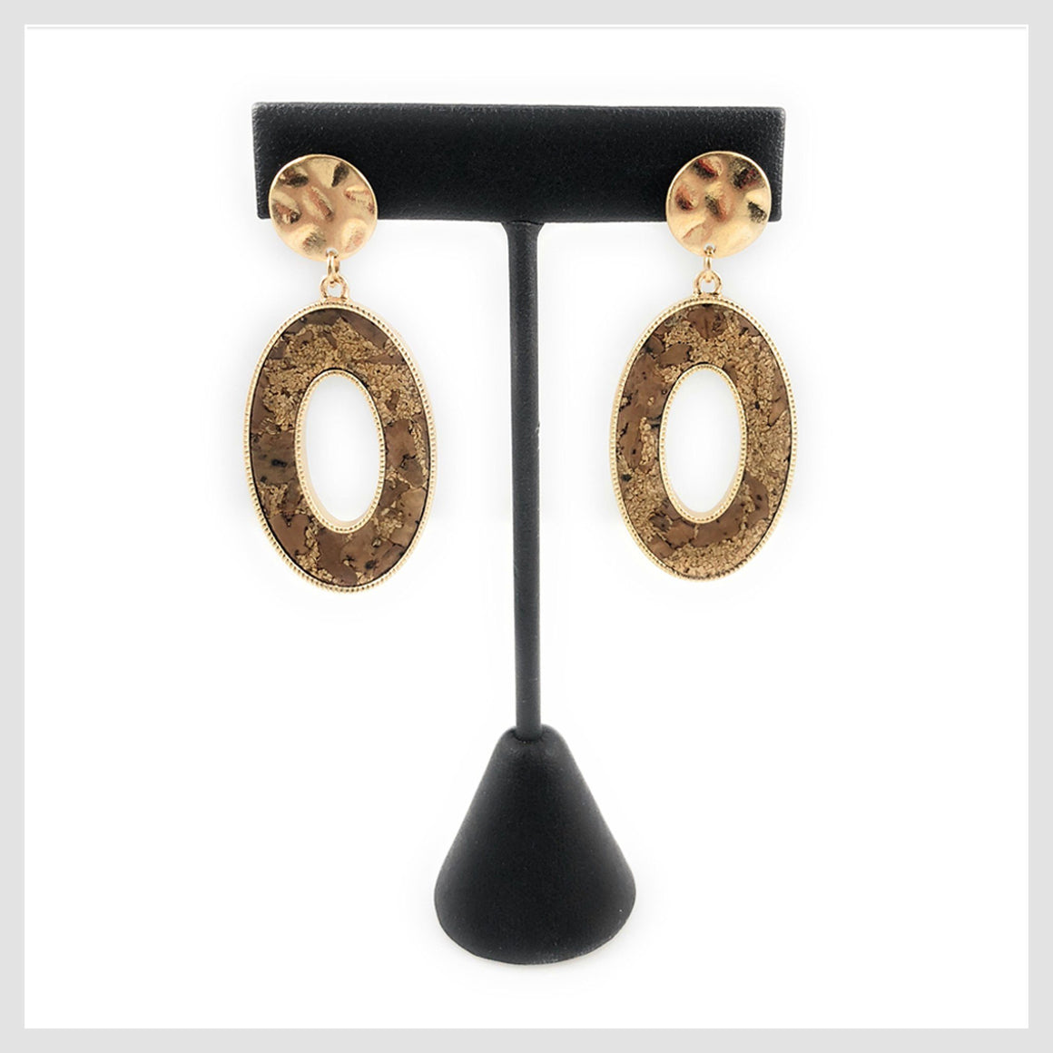 Cork and Brass Oval Drop Stud Earrings - Beads and Dangles
