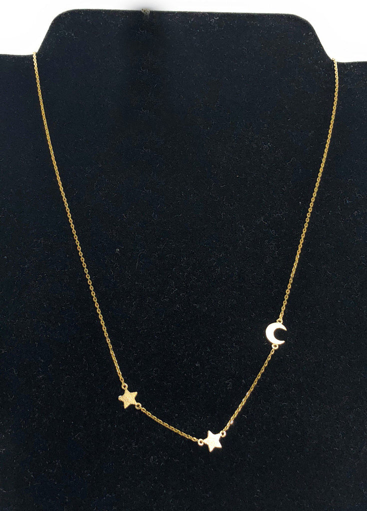 "Moon and Stars Necklace 16"" - Beads and Dangles"